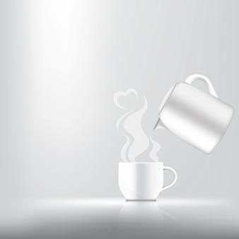 Realista uma xícara de café, chá ou leite quente para produto de bebida com fumaça de coração