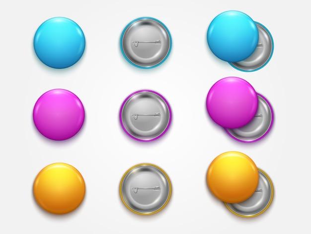 Realista vazio 3d cor círculo botão botão distintivo pin set front side element presentation e publicidade de varejo.