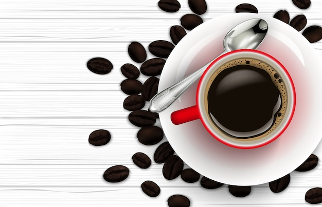 Realista vermelha xícara de café com colher e grãos de café