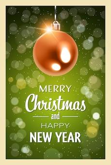 Realista vermelho noite bola feliz natal feliz ano novo feriado conceito plana vertical