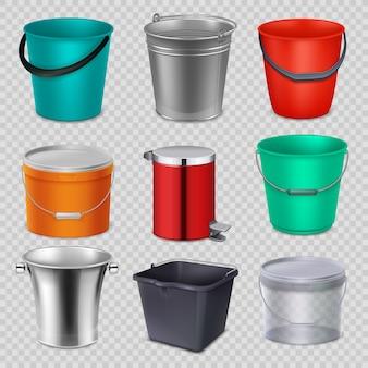 Realistas 3d baldes de metal e plásticos com alça. coleção de vetor isolada