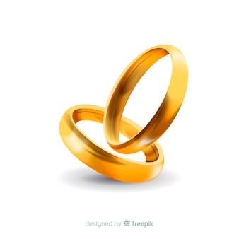 Realistas anéis de casamento de ouro