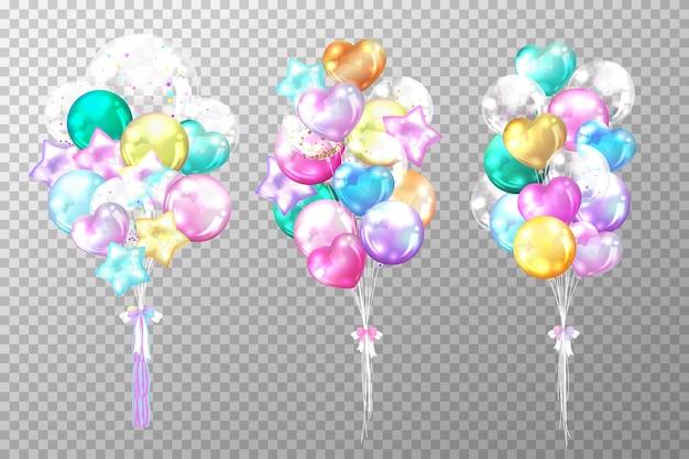 Realistas balões coloridos brilhantes isolados na transparente