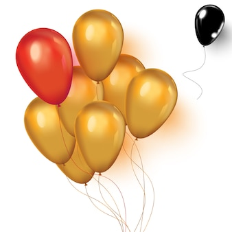 Realistas balões vermelhos ou rosa, pretos e dourados