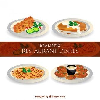 Realistas deliciosos menus em um restaurante