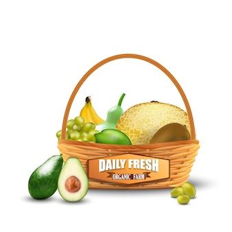 Realistas frutas frescas na cesta de vime isolado