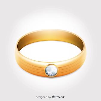 Realistas lindos anéis de casamento de ouro