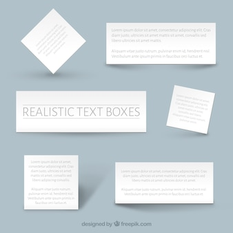 Realistas modelos de caixas de texto