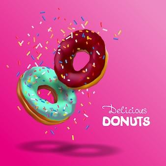 Realistas saborosos donuts de chocolate e azuis, granulado caindo de cima na ilustração 3d