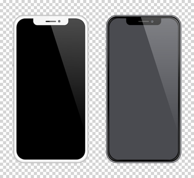 Realistas smartphones maquetes de cor preto e branco