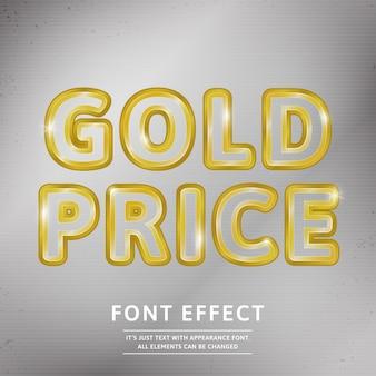 Realistic 3d contorno ouro texto lux tipo de letra lux