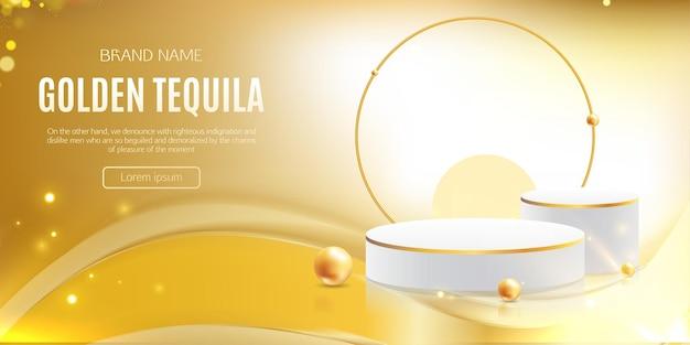 Realistic 3d gold jewelry showcase podium free vector