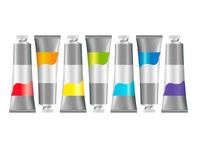 Realistic 3d oil paint tubes conjunto de maquete