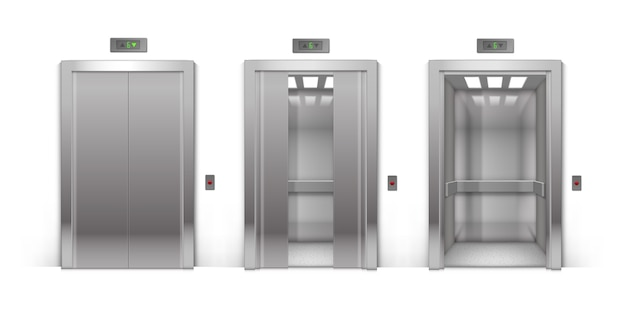 Realistic aberto meio aberto meio fechado e fechado chrome metal edifício de escritórios portas de elevador isoladas no fundo