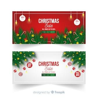 Realistic branches banner de venda de natal
