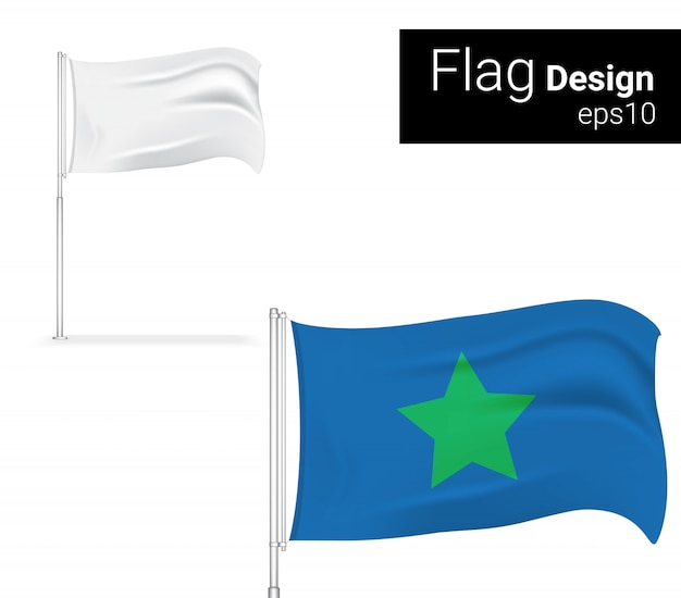 Realistic flag display for sale marketing