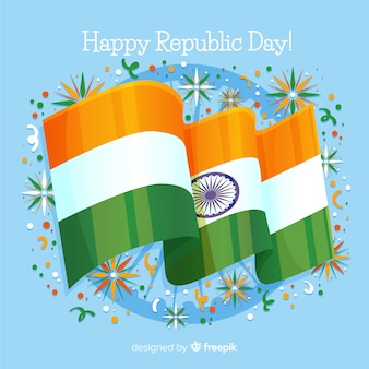 Realistic flag india independence day fundo