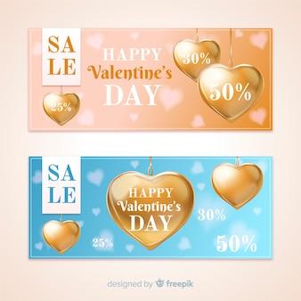 Realistic golden valentine banner banner de venda
