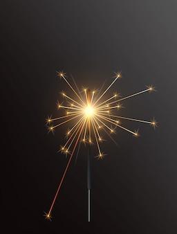 Realistic holiday bengal light, com queima de brilho brilhante