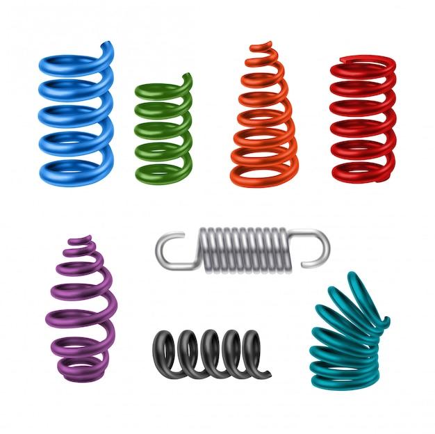 Realistic metal springs colorido