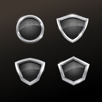Realistic silver badge collection