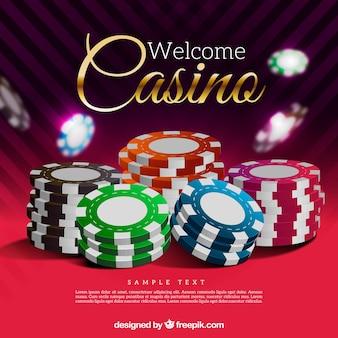 Realístico, estilo, casino, lascas, fundo