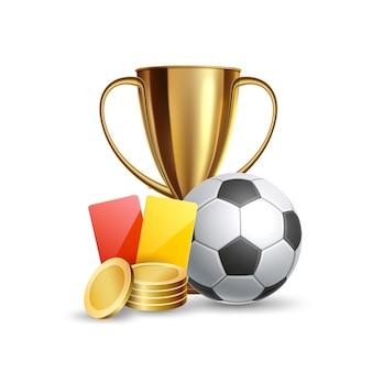 Realístico troféu dourado, bola de futebol, árbitro, cartões amarelos vermelhos e moedas de ouro.