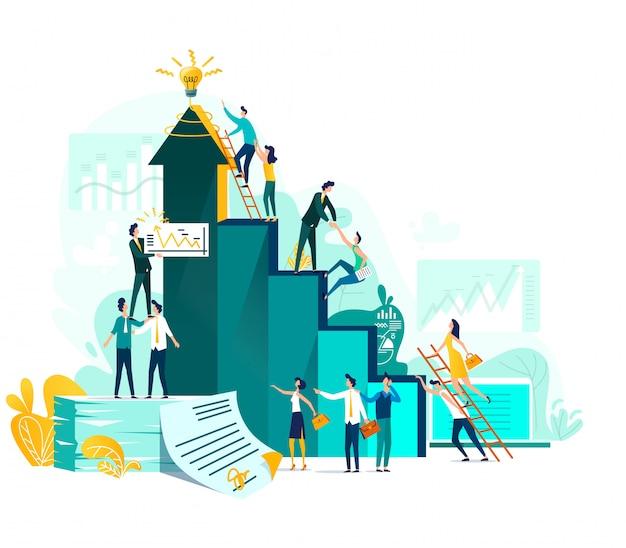 Realização de metas e conceito de negócio de trabalho em equipe, crescimento de carreira e cooperação para o desenvolvimento do projeto