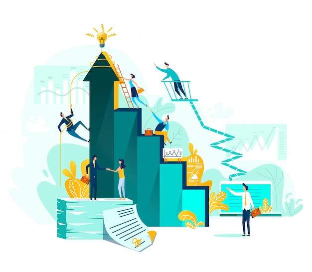 Realização de objetivo e negócio de trabalho em equipe
