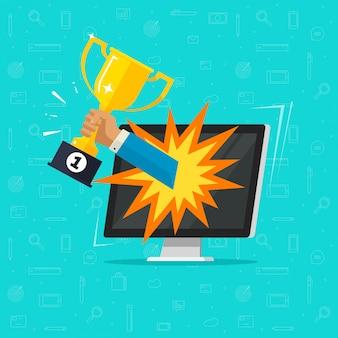 Realização do objetivo do prêmio on-line na tela do computador ou na xícara vencedora