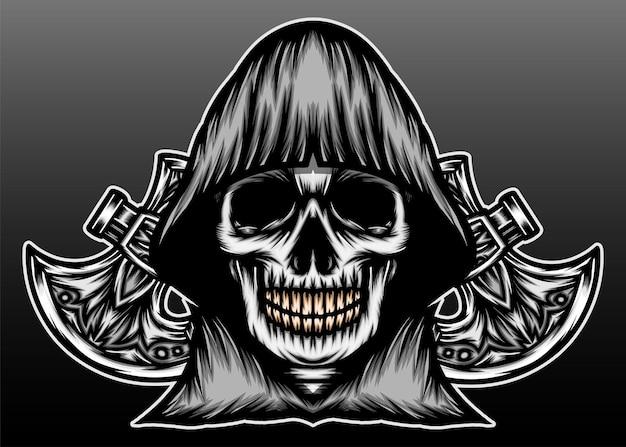 Reaper com desenho de ilustração de mão desenhada de machado