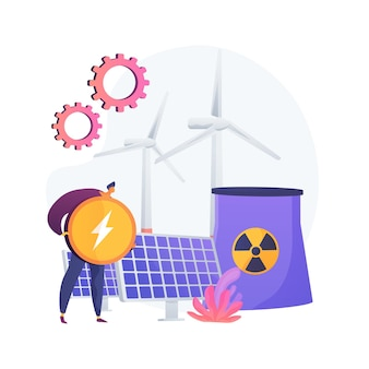 Reator atômico, moinho de vento e bateria solar, produção de energia. usina nuclear, processo de fissão atômica. recebendo a metáfora da carga elétrica.