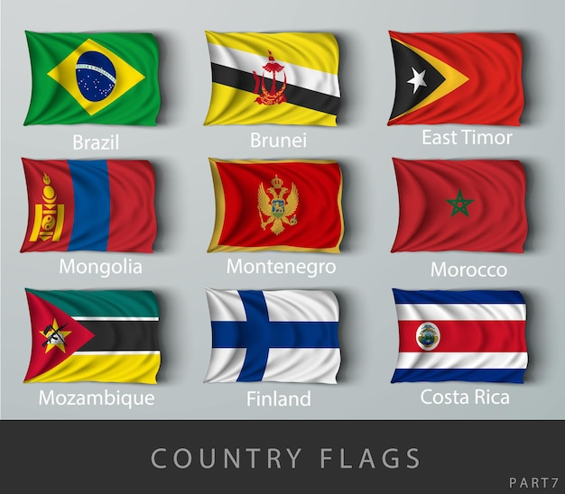 Rebitada a bandeira do país enrugada com sombras