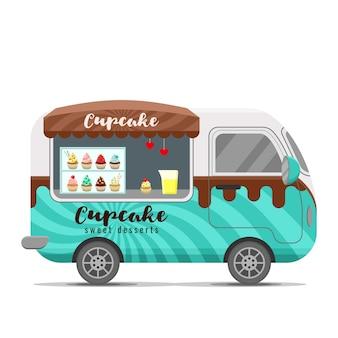 Reboque de caravana de comida de rua de cupcake
