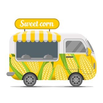 Reboque de caravana de comida de rua de milho doce