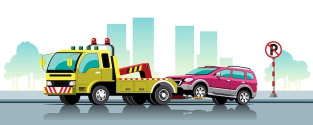 Reboque de carro com automóvel na estrada