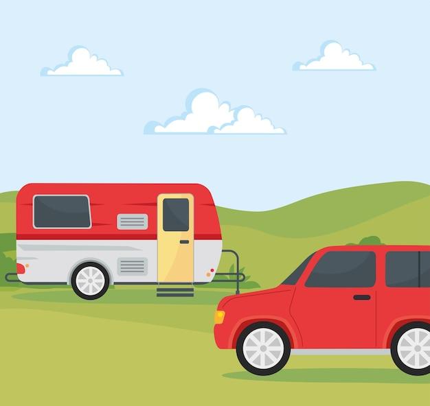 Reboques caravanas vermelhos