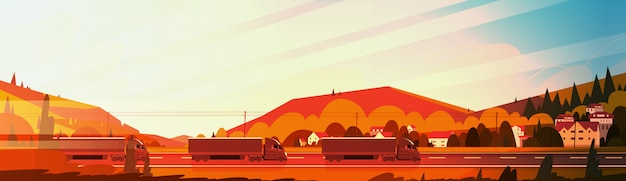 Reboques de caminhão semi grande condução estrada sobre paisagem de montanhas ao pôr do sol banner horizontal