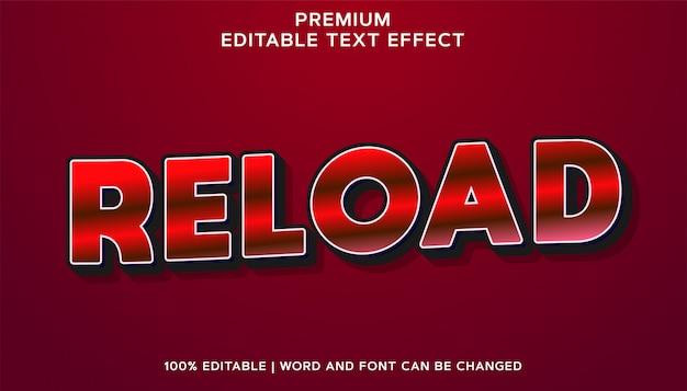 Recarregar - estilo de efeito de texto editável