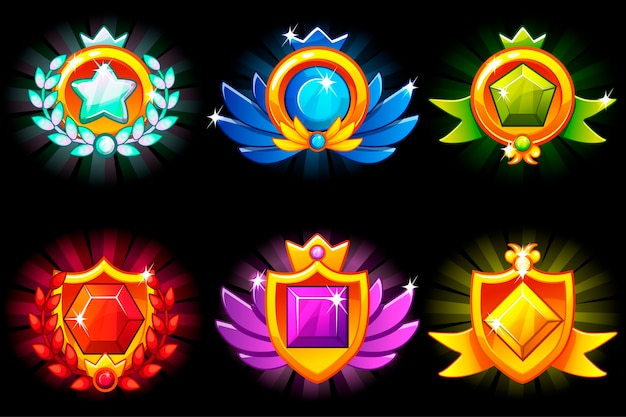 Recebendo conquistas, modelos de prêmios e pedras preciosas.