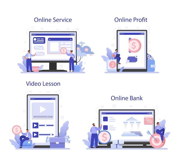 Recebendo serviço online de lucro ou conjunto de plataforma. ideia de sucesso empresarial e crescimento financeiro. progresso da atividade comercial. banco online, lucro, vídeo-aula.