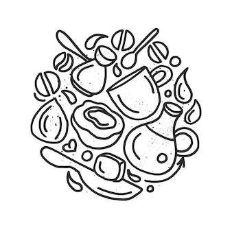 Receita clássica de café à prova de balas de símbolo de cozinha em círculo