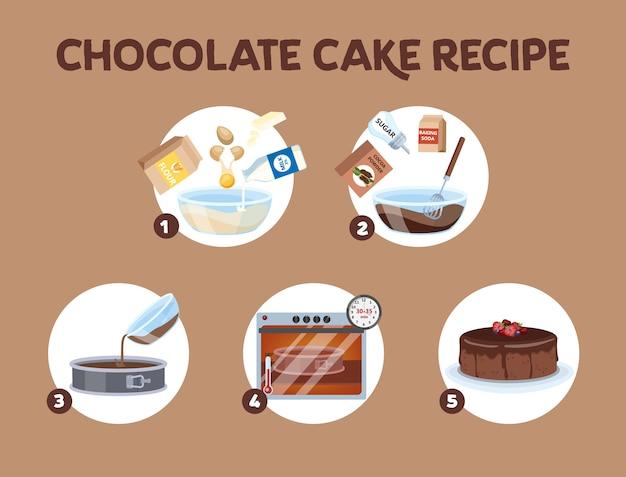 Receita de bolo de chocolate para cozinhar em casa.