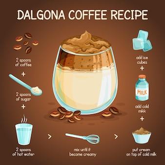 Receita de café dalgona ilustrada