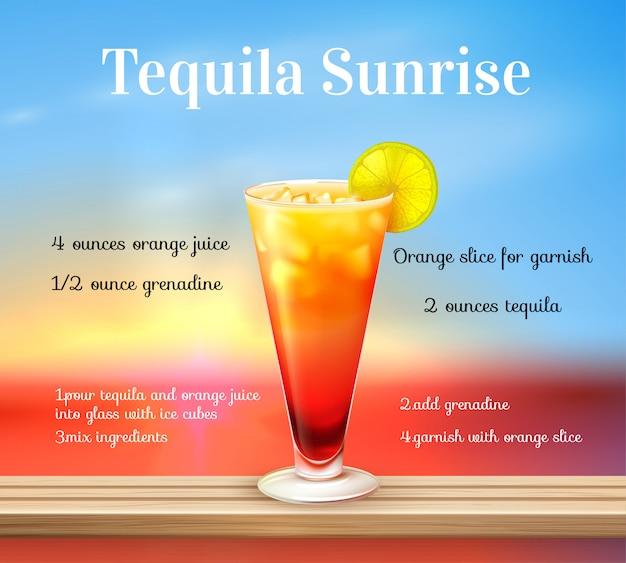 Receita de coquetel de tequila Vetor grátis