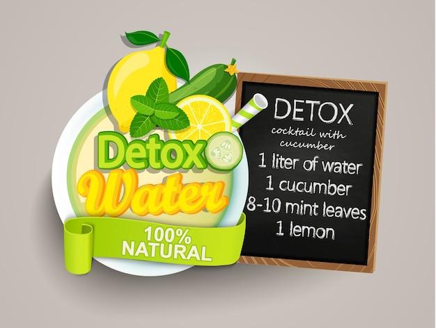 Receita de desintoxicação cocktail-pepino, limão, água, hortelã.