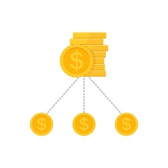 Receita de diversificação de dinheiro, divisão de orçamento, portfólio de diversificação financeira. aumento da estrutura monetária da fatura.