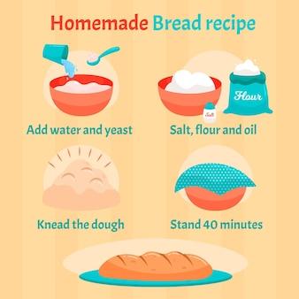 Receita de pão caseiro com instruções