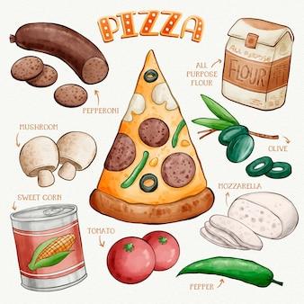 Receita de pizza desenhada à mão