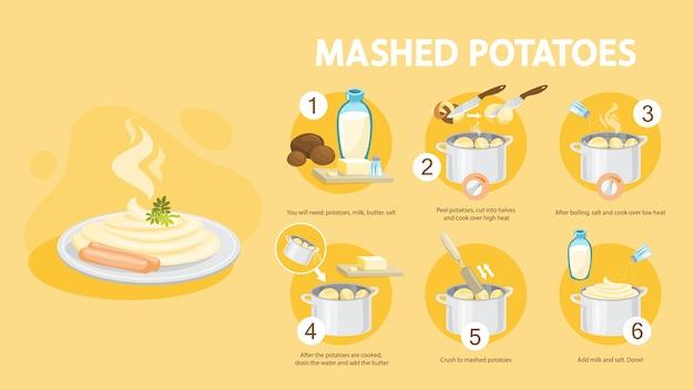 Receita de purê de batata. cozinhando o jantar ou almoço em casa